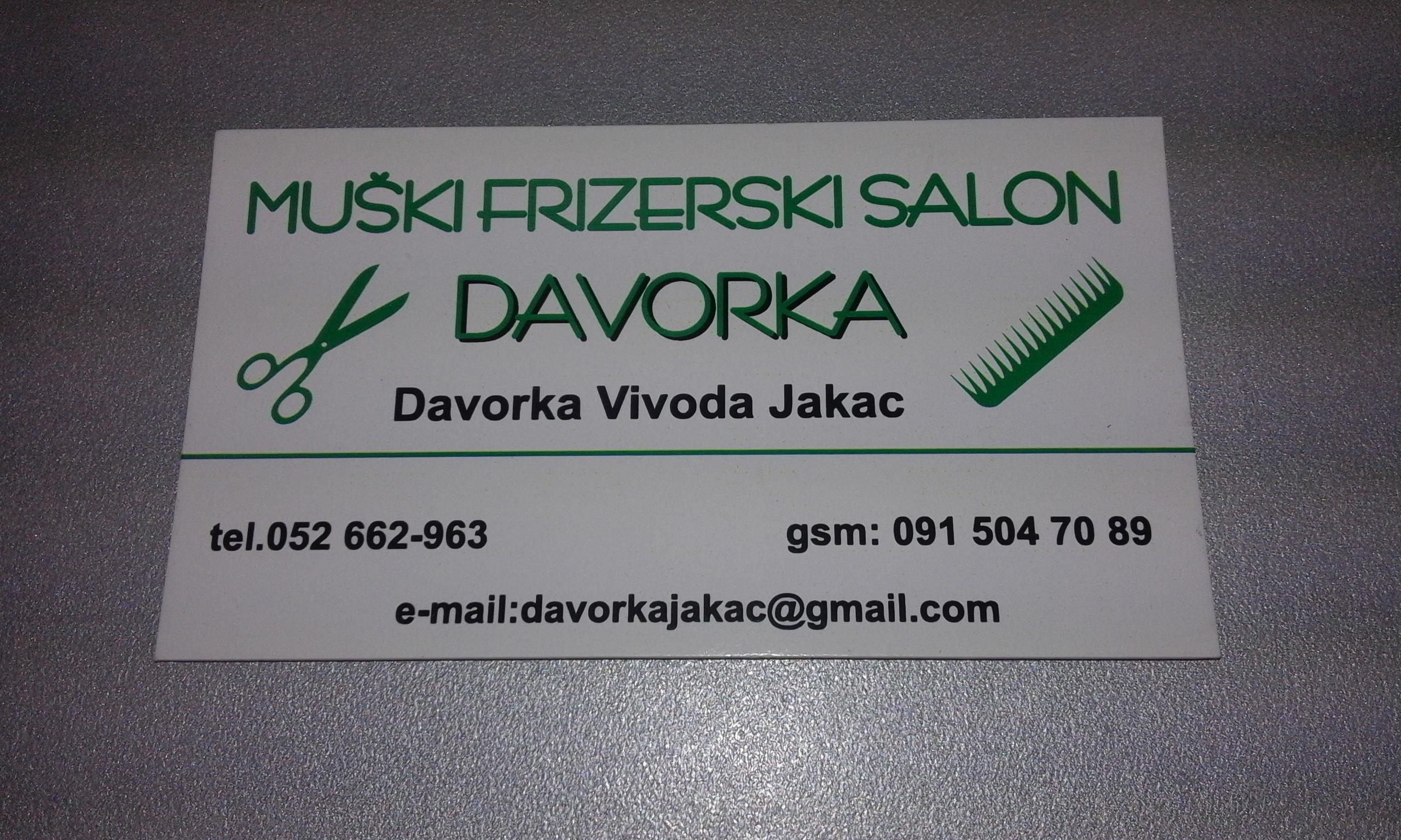 """MUŠKI FRIZERSKI SALON """"DAVORKA"""", VL. DAVORKA VIVODA JAKAC"""